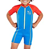 Speedo Seasquad Hot Tot Suit Bañador, Unisex niños, Neon Blue/Risk Red, 2 años