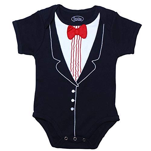 Frenchie Mini Couture, Infant Tuxedo 100% Cotton Bodysuit with Bowtie, 12 Months
