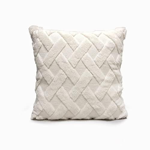 BGFS Funda de almohada de forro polar, diseño nórdico elegante, suave, cuadrada, para habitación decorativa, funda de cojín para artículos del hogar (0013, 1 unidad)