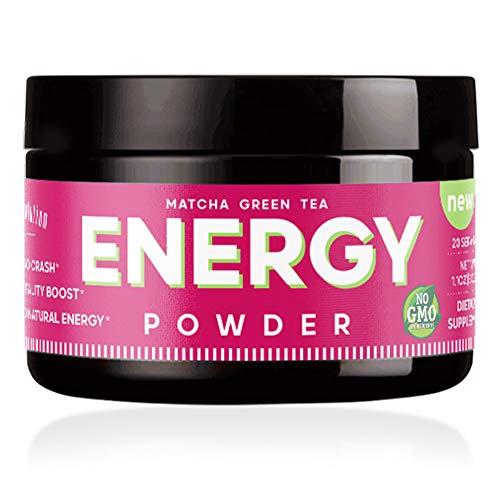 Energy Powder - Natural Caffeine   Focus & Brain Boost Formula   Nootropic - No Crash & No Sugar (20 Servings) Matcha Green Tea, Guarana, L-Theanine, Eleuthero – Plant Based Energy - 0 Cal   1.1oz