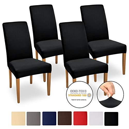 Beautissu Stuhlhussen 4er Set Mia 35-50 cm Stretch Stuhlbezug - Vier Hussen für Stühle im Set - Bi-Elastic Stuhlüberzug Set - Pflegeleichte Stuhlhusse ÖKO-TEX Schwarz