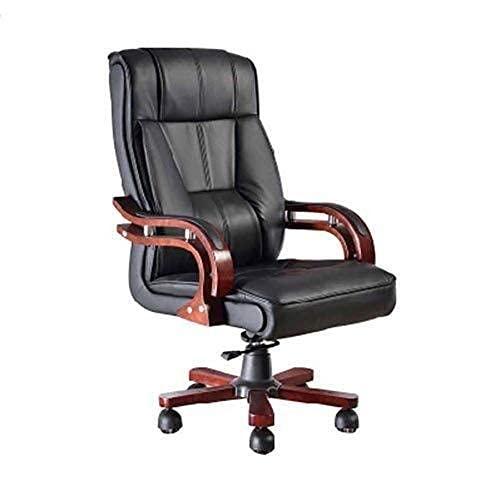 Silla de escritorio de oficina Silla de escritorio ejecutiva, ergonómica Silla de oficina de cuero de PU con respaldo alto Giratoria y función de bloqueo de altura ajustable Sillón reclinable de ocio