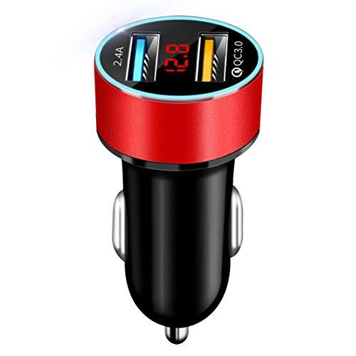 Celerhuak Auto-Zubehör Dual-USB-Digitalanzeige Kfz-Ladegerät Tragbarer Kfz-Zigarettenanzünder Mit Led-Anzeige Kfz-Ladegerät Rot