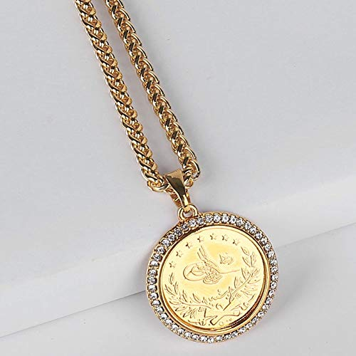 WYFLL Coins Islam Allah Allah Muslim Pendant Necklace Gold Coin Jewelry Accepts Consignment Personality Fashion Jewelry