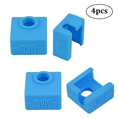 3D Parti e Accessori Silicone Sock Cover per Stampante 3D Coperchio in Silicone MK7 MK8 MK9 Hotend Compatibile con Ender3 Creality CR-10 10S S4 S5 ANET A8 Confezione da 4 (Blu)