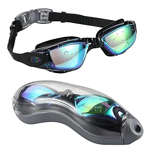 ODOORACT Gafas de natación para adultos y niños, antivaho, protección UV, sin fugas, con tapones para los oídos y clip para la nariz, con caja de almacenamiento (B)