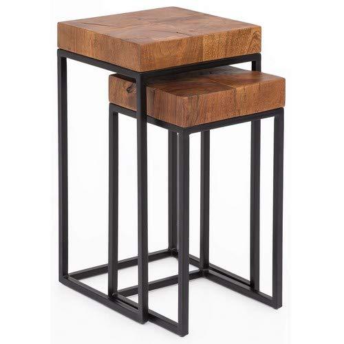 Wohnling WL5.660 Sheesham Lot de 2 tables d'appoint en métal avec 2 tables en bois massif et structure en métal