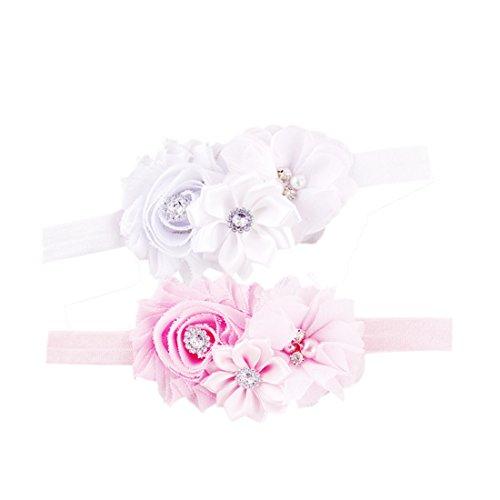 JMITHA Bambino fascia Fasce di fiore della neonata Cerchietto elastico Accessori per capelli a fiori (A - 2 pezzi)