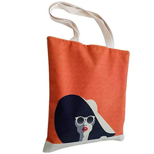 Lorisan Tote Bag for Women, Cute Large Crossbody Totes With Zipper and Handbag for Travel Gym Beach School Work, Book Lovers Gift (Beautiful young woman with sunglasses and hat retro style)