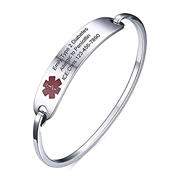 Vnox Custom Engraving Stainless Steel Medical Alert ID Bangle Bracelet for Women Girl,7