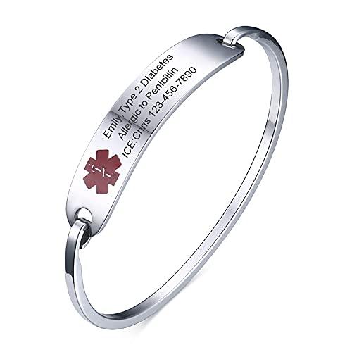 """Vnox Custom Engraving Stainless Steel Medical Alert ID Bangle Bracelet for Women Girl,7"""""""