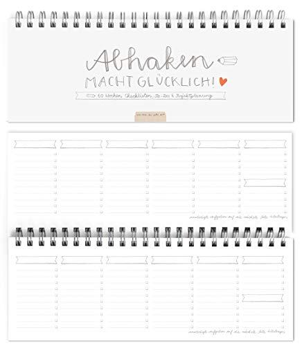 Eine der Guten Wochenplaner & Tischkalender, Abhaken macht glücklich, Querformat, Weiß, umweltfreundliches Recyclingpapier, 60 Wochen Checklisten, To-Do Tischplaner, Projektplanung, Design schlicht