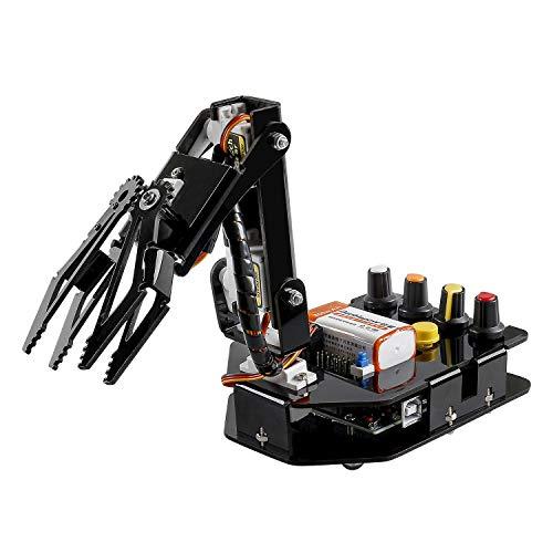 SUNFOUNDER Roboter Bausatz 4-Achsen Servo Steuerung Rollarm, 180-Grad-Drehung, Programmierbare für Arduino Roboter Spielzeug für Kinder und Erwachsene