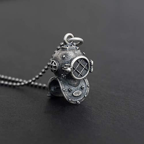 925 Sterling Silber Halskette für Männer Anhänger für Männer Halskette Steampunk Vintage Tauchen Maske Marine Halskette nautischen Meer Schmuck Herren Geschenk