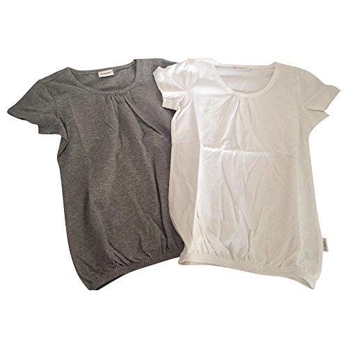 Petite Fleur T-Shirt (Packung, 2 Stück), für Mädchen grau Weiche Qualität aus reiner Baumwolle (128/134)
