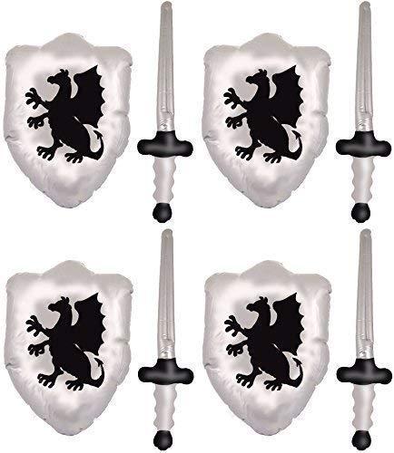 Henbrandt (4er Packung Chevaliers Aufblasbare Figur Schwerter und Drachen Schilde Set