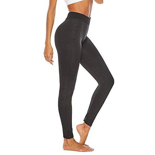 xmansky Schwarzer Laufhose Damen lang - Lässig gedruckt hohe Taillen-Yoga-Hosen-Hose Elastische Sport-Leggins für Damen zum Laufen,...
