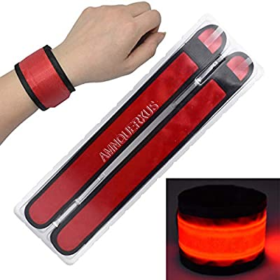 LED Slap Bracelets Light Up Armbands Glow in The Dark Fashing Wristbands Wrist Bands Safety Reflective Running Gear Lights for Runners Walkers Walking Joggers Jogging, Fits Men Women Kids (2-Red)