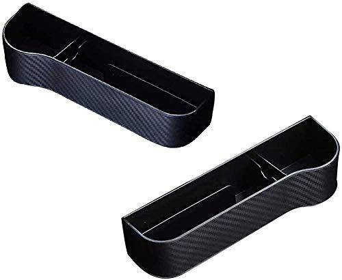 Yeslln Multifunktionale Autositz Organizer, Aufbewahrungs Schlitz Box Carbon Faser für Auto Sitz,Autozubehör Geeignet für die Meisten Autos (Schwarz)
