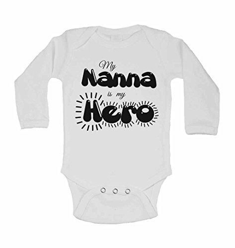 My Nanna est My Hero – personnalisé bébé à manches longues gilets bodies bébé SE Développe pour garçons, filles – Blanc – 2–3 ans