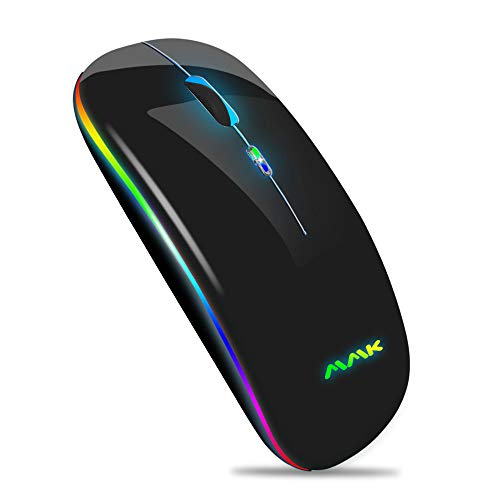 Wireless Bluetooth Mouse for Laptop, Rechargeable Mouse 2.4G USB Optical Wireless Mouse, LED Slim Dual Mode(Bluetooth 5.0 and 2.4G) Wireless Mouse for Laptop, PC, Mac OS , Android , Windows(Black)