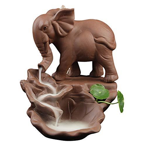 Räucherstäbchen Halter, Zuhause Keramik Räucherstäbchenhalter Rückfluss Räuchergefäß Elefant Buddha Luftbefeuchter Aromatherapie Räucherstäbchen Rückfluss Weihrauch Duftlampen Rauchbrunnen A