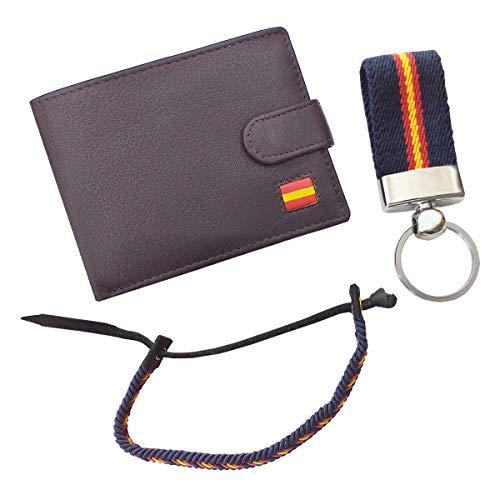 Tiendas LGP - Cartera Billetero Monedero Americano, Bandera de España, Caballero -Piel Autentica, Color marrón + Llavero + Pulsera