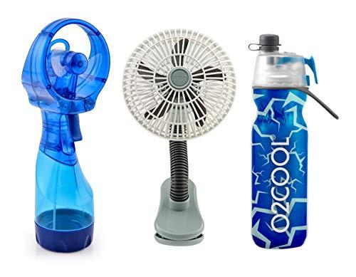 O2COOL Keep It Cool Kid's Summer Camp or Theme Park Bundle - 4 Inch Clip Fan, Deluxe Misting Fan & Mist N'Sip Water Bottle