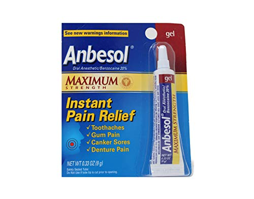 Anbesol Instant Pain Relief Gel Maximum Strength - 0.33 oz, Pack of 5
