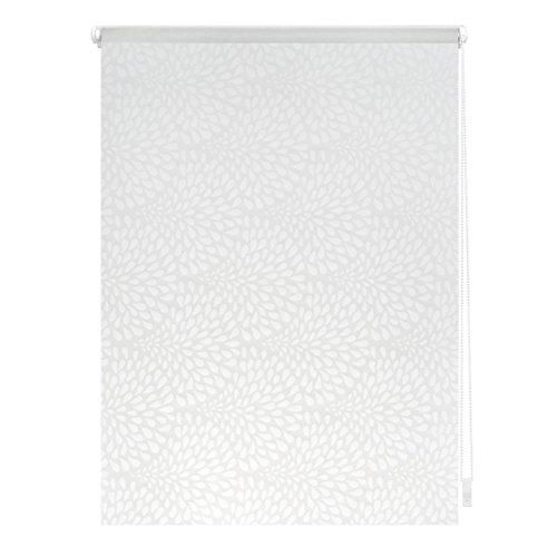 Lichtblick Rollo Klemmfix, 90 x 180 cm mit Motiv Drops - Weiß Transparent Montage ohne Bohren, moderner Sicht-und Sonnenschutz, Motivrollo, lichtdurchlässig & Blickdicht