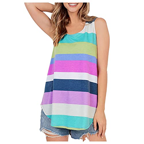 Blusa para mujer, cuello redondo, suelta, sin mangas, a rayas, informal, túnica