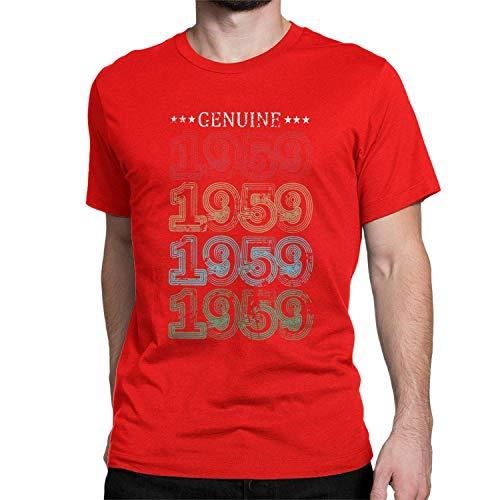 aiteweifuzhuangdian 1959 60th Vendimia Regalo Camiseta del cumpleaños de 60 años Camisetas Viejas Tapas para Las Mujeres de los Hombres, Pequeño, Rojo