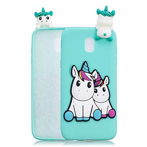HopMore Compatible con Funda Samsung Galaxy J7 2017 Silicona Dibujo 3D Divertidas Panda Animal Carcasa TPU Gel Ultrafina Slim Case Antigolpes Caso Protección Cover Design Gracioso - Unicornio Unicorn