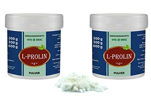 VITAIDEAL ® L-Prolin PULVER 2x300g (Pro, P) + Messlöffel von NEZ-Diskounter