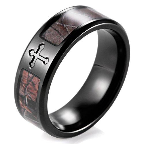 SHARDON Men's 8mm IP Black Titanium Tree Camo Wedding Ring with Single Engraved Cross Size 12