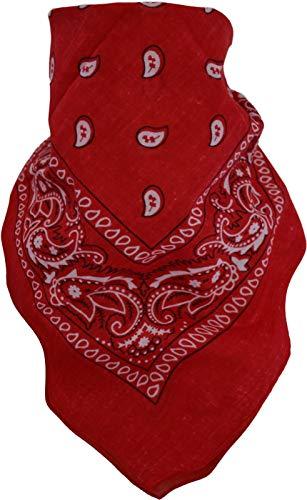 normani 3 × Rocker & Biker Bandana Cap Kopftuch Halstuch in vielen Ausführungen Farbe Rot/Weiß