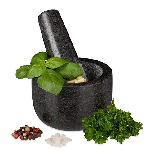 Relaxdays 10029948 Granit avec Pilon, Robuste, pour épices, Herbes, mortier en Pierre polie, d. 8,5 cm, 400 ML, Gris