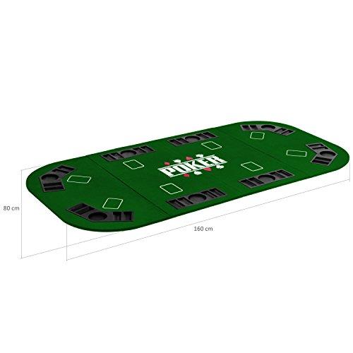 Maxstore Faltbare XXL Pokerauflage für bis zu 8 Spieler, Maße 160×80 cm, MDF Platte, 8 Getränkehalter, 8 Chiptrays, grün - 3