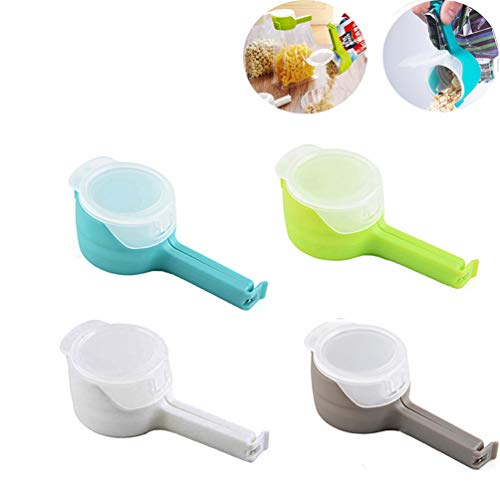 4PCS Bag Clips for Food Sealing Clip with Discharge Nozzle Seal for Food and Snack Bag Kitchen Storage and Organization