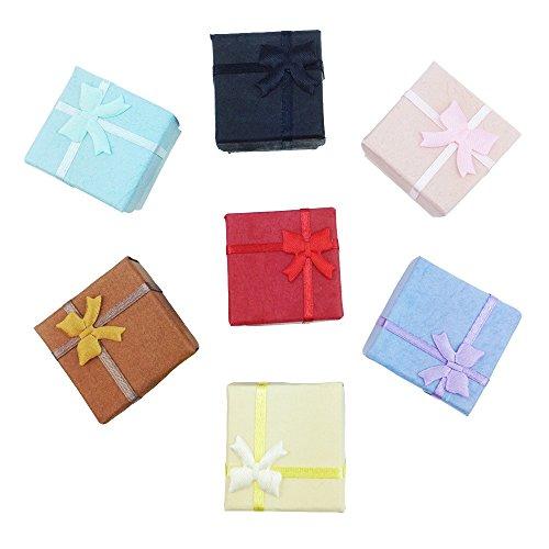 TRIXES 5 Stück Elegante Ringboxen - quadratische Schmuckschatulle - für Verlobungsringe Hochzeitsringe und vieles mehr - Geschenkbox mit Schaumstoff-Interieur und Schleife - Gemischte Farben