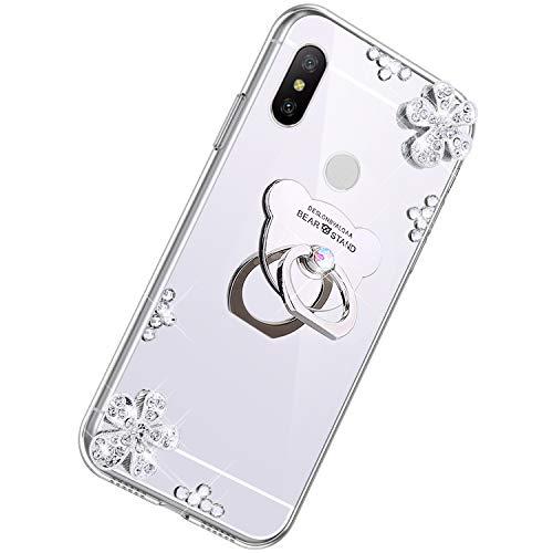 Herbests Compatible avec Xiaomi Redmi Note 6 Pro Coque Luxury Bling Cristall Brillant Élégant Miroir Étui Rhinestone Scintillant Diamant Téléphone Cas Floral Silicone Slim TPU Bumper Cover,Argent