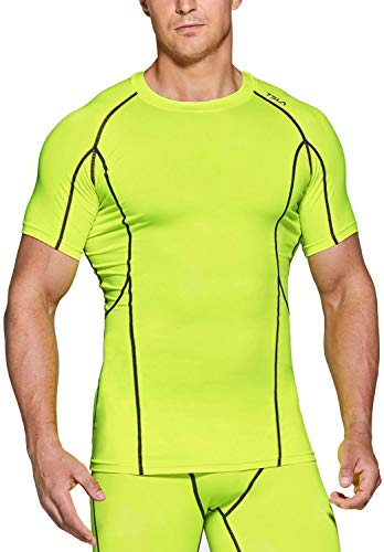 TSLA Dri Fit - Camiseta interior de compresión de manga corta para hombre, Mujer Niños Niñas Unisex niños 0, Mub33 1pack - Bolígrafo, color amarillo neón, medium