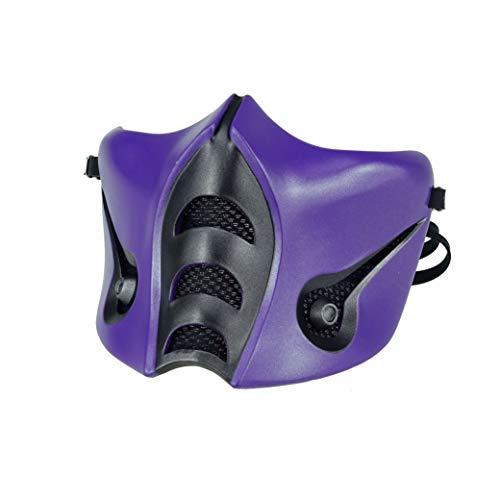 Mortal Kombat Rain Mask, Jade/Sub-Zero/Kabal/Saibot/Scorpion/Smoke Resin Mask Purple Halloween Costume Accessory (Sub-zero MK9)