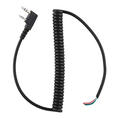 01 Lunga Durata 3,5 mm + 2,5 mm Doppia interfaccia Facile da Usare Cavo per Microfono a Mano, Cavo per Altoparlante per walkie-Talkie, Avvolgimento a Molla Durevole per Microfono Walkie-Talkie