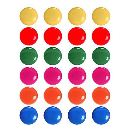 Imanes de oficina, 24 imanes redondos coloridos para nevera y pizarra blanca, 6 colores
