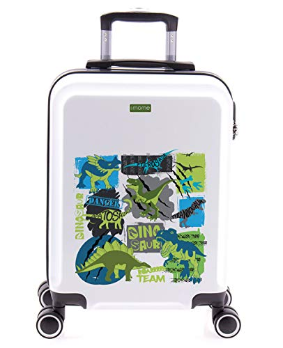 imome Cool Maleta de Cabina Infantil Dinosaurios 55x40x20 cm Blanca | Equipaje de Mano, Trolley de Viaje Ryanair, Easyjet | Maleta de Viaje Rígida Divertida Tiranosaurio T-Rex Juvenil