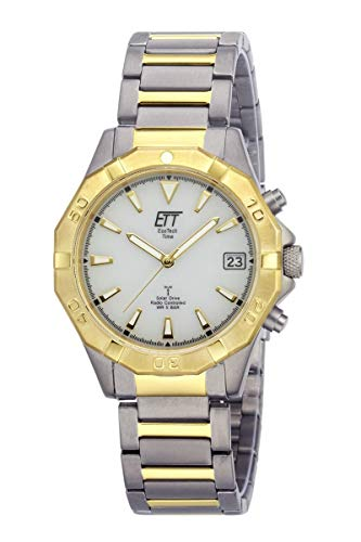 ETT Eco Tech Time Funk Solar herenhorloge analoog met titanium armband EGT-11359-25M