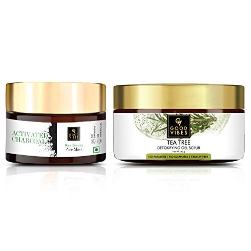 Good Vibes Activated Charcoal Face Mask (50 g) + Tea Tree Gel Scrub (50 g) Combo