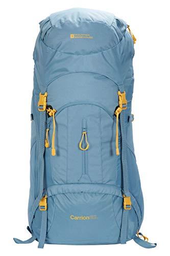 Mountain Warehouse Carrion 65-l-Rucksack - weicher Reiserucksack, atmungsaktiv, gepolstert, Airmesh-Material, verstellbar, Leitersicherung Hellblau Einheitsgröße