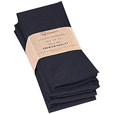 Ruvanti Black Cloth Napkins 12 Pack (18  X18 ), Black Linen Napkins - Soft,Durable,Comfortable &Reusable Poly Cotton Napkins -Everyday Use Perfect Cocktail Napkins/Dinner Napkins/Table Napkins.